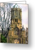 Wren Greeting Cards - Christchurch College Oxford Greeting Card by Mike Lester
