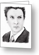 Batman Greeting Cards - Christian Bale Greeting Card by Rosalinda Markle