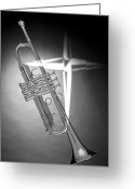 Cornet Greeting Cards - Christian Cross on Trumpet Greeting Card by M K  Miller