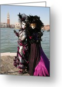 Fushia Photo Greeting Cards - Christine and Gunilla Across St. Marks  Greeting Card by Donna Corless