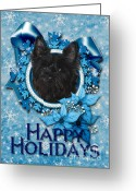 Cairn Terrier Greeting Cards - Christmas - Blue Snowflakes Cairn Terrier Greeting Card by Renae Frankz