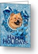 Xmas Greeting Cards - Christmas - Blue Snowflakes Chow Chows Greeting Card by Renae Frankz