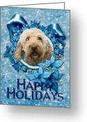 Poodle Greeting Cards - Christmas - Blue Snowflakes GoldenDoodle Greeting Card by Renae Frankz