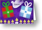 Star Of David Greeting Cards - Christmas and Hanukkah Peace Greeting Card by Linda Woods