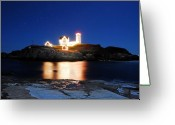 New England Digital Art Greeting Cards - Christmas at Nubble Light Greeting Card by William Carroll