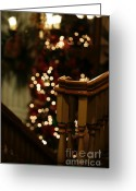 Banister Greeting Cards - Christmas Banister 1 Greeting Card by Linda Knorr Shafer