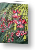 Brakenhoff Batik Tapestries - Textiles Greeting Cards - Christmas Cactus Batik Greeting Card by Kristine Allphin