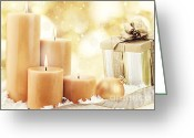 Glowing Star Greeting Cards - Christmas Candles Greeting Card by Stephanie Frey