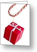 Ribbon Greeting Cards - Christmas candy cane and present Greeting Card by Elena Elisseeva