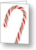 Handle Greeting Cards - Christmas candy cane Greeting Card by Elena Elisseeva