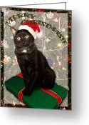 Merry Greeting Cards - Christmas Cat Greeting Card by Adam Romanowicz