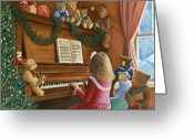 Little Girl Greeting Cards - Christmas Concert Greeting Card by Susan Rinehart