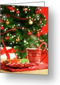 Enchanted Greeting Cards - Christmas cookies  near the  tree  Greeting Card by Sandra Cunningham