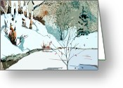 Snowy Night Digital Art Greeting Cards - Christmas Crisp Greeting Card by Mindy Newman
