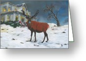 Conformist Greeting Cards - Christmas Elk Greeting Card by Gail Daley