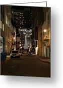 Maiden Greeting Cards - Christmas Eve 2009 on Maiden Lane Greeting Card by Wingsdomain Art and Photography