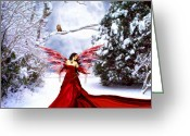 Sky Painting Greeting Cards - Christmas Eve Angel Greeting Card by Jai Johnson