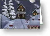 Wreaths Greeting Cards - Christmas Eve Greeting Card by Catherine Holman