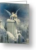 Watercolor Painting Greeting Cards - Christmas Eve Greeting Card by Gustave Dore
