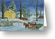 Team Greeting Cards - Christmas Eve In The Country Greeting Card by Charlotte Blanchard
