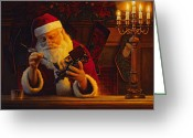 Claus Greeting Cards - Christmas Eve Touch Up Greeting Card by Greg Olsen