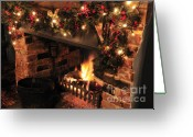 Lit Greeting Cards - Christmas Fireplace Greeting Card by Andy Smy