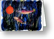 Blues Tapestries - Textiles Greeting Cards - Christmas Fish Surprise Greeting Card by Carolyn Doe