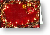Glowing Star Greeting Cards - Christmas Frame Greeting Card by Carlos Caetano