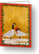 Goose Drawings Greeting Cards - Christmas Geese Greeting Card by Susan Greenwood Lindsay