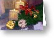 Ornaments Painting Greeting Cards - Christmas Glow Greeting Card by Lynne Reichhart
