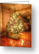  Wrapping Greeting Cards - Christmas Glow Greeting Card by Michael Garyet