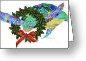 Sea Turtle Greeting Cards - Christmas Holiday Sea Turtle Greeting Card by Jo Lynch