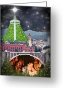 Spokane Greeting Cards - Christmas In Spokane Greeting Card by Mark Armstrong