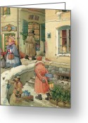 Snow Greeting Cards - Christmas in the Town Greeting Card by Kestutis Kasparavicius