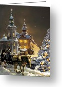 Horse And Buggy Greeting Cards - Christmas in the Ukraine Greeting Card by Gina Femrite