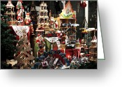 Medieval Architecture Greeting Cards - Christmas in the Window Greeting Card by John Rizzuto