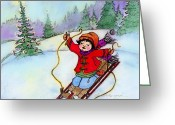 New Britain Painting Greeting Cards - Christmas Joy Child on Sled Greeting Card by Glenna McRae