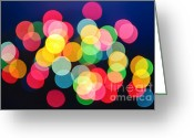 Xmas Greeting Cards - Christmas lights abstract Greeting Card by Elena Elisseeva