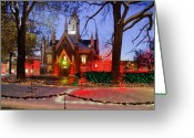 Hall Greeting Cards - Christmas Lights at Temple Square Greeting Card by Utah Images