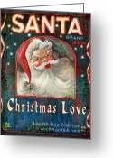 Vintage Mixed Media Greeting Cards - Christmas love Greeting Card by Joel Payne