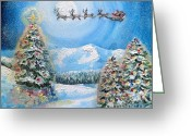Snowy Night Greeting Cards - Christmas Magic Greeting Card by Shana Rowe