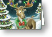 Snow Digital Art Greeting Cards - Christmas Moose Greeting Card by Hank Nunes