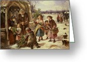 December Painting Greeting Cards - Christmas Morning Greeting Card by Thomas Falcon Marshall