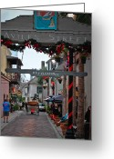 Blue Cobblestone Greeting Cards - Christmas on Aviles Street Greeting Card by DigiArt Diaries by Vicky Browning