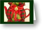 Red And Tea Greeting Cards - Christmas Plaid Tea Cozy Greeting Card by Gretchen Wrede