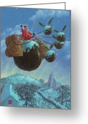 Sleigh Ride Greeting Cards - Christmas Pudding Santa Ride Greeting Card by Martin Davey
