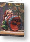 Elves Greeting Cards - Christmas Reflections Greeting Card by Leonard Filgate