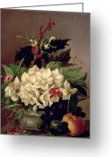 "\""flower Still Life\\\"" Greeting Cards - Christmas Roses Greeting Card by Willem van Leen"