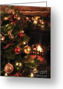 Lit Greeting Cards - Christmas round the fire Greeting Card by Andy Smy
