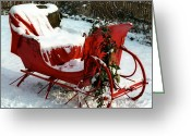 Santa Greeting Cards - Christmas Sleigh Greeting Card by Andrew Fare